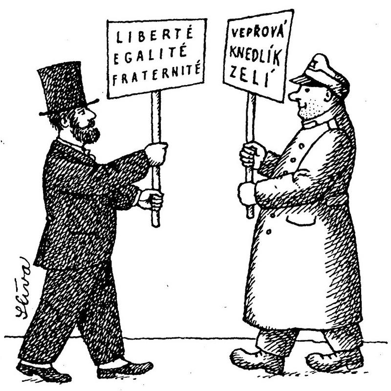 Disegno di un uomo francese e di Josef Švejk, uno di fronte all'altro, che reggono cartelli.