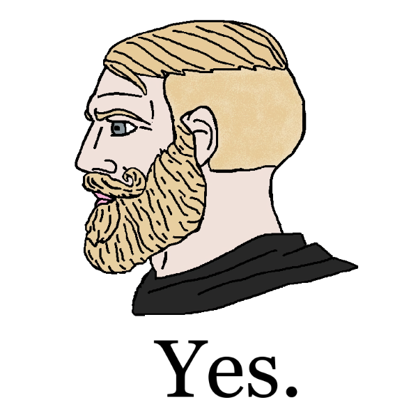 Disegno del profilo di un uomo con i capelli e la barba biondi e gli occhi azzurri (il meme Chad) con la didascalia «Yes.»