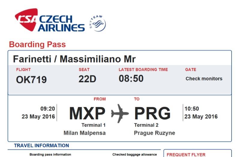 Schermata del boarding pass del volo Czech Airlines OK719 Milano–Praga del 23 maggio 2016.